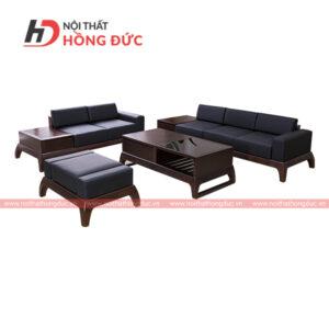 Sofa gỗ da màu óc chó
