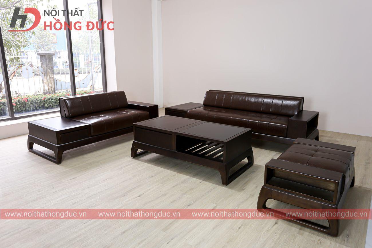 Sofa da cao cấp gỗ sơn màu óc chó