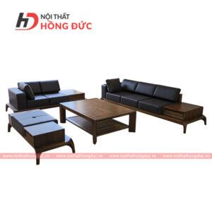 Sofa bộ da cao cấp gỗ màu óc chó sang trọng tại thanh hóa