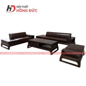 Sofa da gỗ óc chó theo bộ