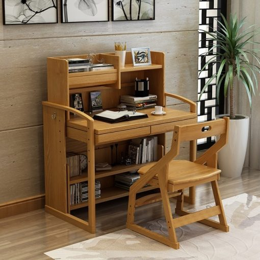 Mẫu bàn học gỗ tự nhiên đẹp kèm giá sách